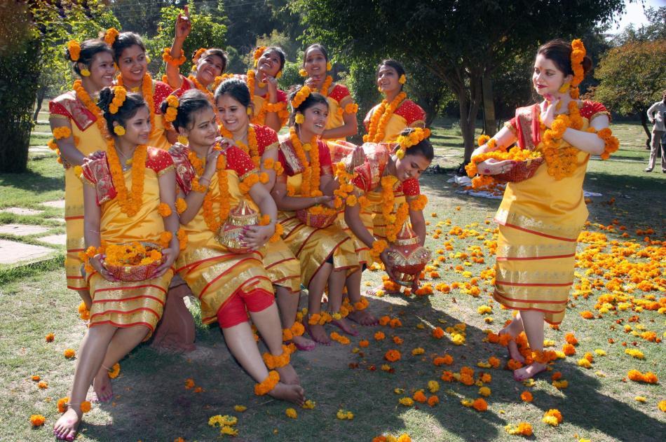 Holi-festival i Shantiniketan